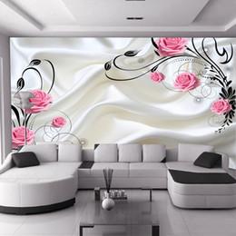 Latas de papel en Línea-La venta CALIENTE puede ser modificado para requisitos particulares la pared moderna del papel pintado 3D del dormitorio del dormitorio de la manera moderna la rosa roja florece el papel de empapelar lechoso de la pared del fondo de la TV