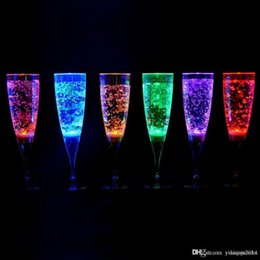 Wholesale 6 CM Liquid active Plastic LED Champagne flutes light up LED Flash Champagne cup soft Drink Cup For Wedding table decorations supplies