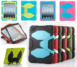Wholesale For SAMSUNG Galaxy Military Silicone Heavy Dust ShockProof Case Cover With stand holder For iPad mini air Pro In Retail Box