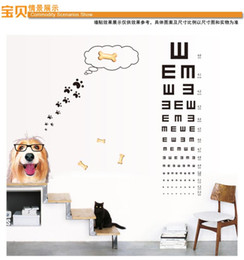 Wholesale Fashion zy6023 Wall stickers home wall cute dog Vision test stickers removable PVC sticker home decoration sticker45 cm