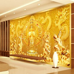 Gold Buddha Photo wallpaper Custom 3D Wall Murals Avalokitesvara Wallpaper Bedroom Living room Office Art Room decor Home decoration Dragon