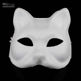 Wholesale Christmas Festive Masks - Cat DIY Plain White Masks Animal Hand Painting Blank Unpainted Paper Pulp Masquerade Masks for Christmas Birthday Festive Party