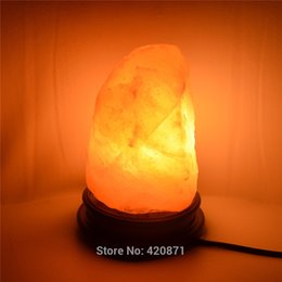 Wholesale Himalayan Salt Lamp Natural Mineral Rock Light with Neem Wood Base Plug Switch W LED Lamp for Air Purification Therapy