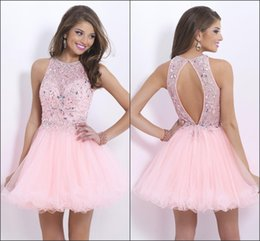 Wholesale 2015 Fashion New Design Pink Organza Homecoming Dresses Beads Sequins Backless A line Short Party Prom Dresses Custom Made Cheap Hot Sale