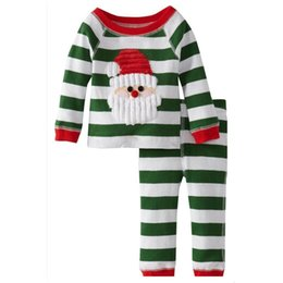 2015 New years baby boys pajamas outfits Cotton Christmas santa long sleeved striped t-shirt +striped pants suits