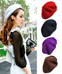 Wholesale-2015 Classic women's soft warm Wool French Artist Beret Beanie slouch Hat