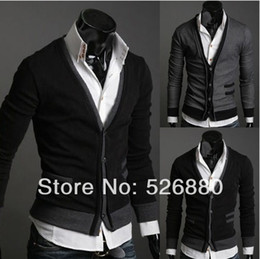 Wholesale the new fake pocket zipper cloth men imported abb cardigan sweater coat