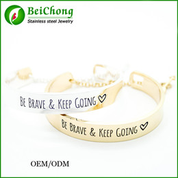 BC Jewelry Free Shipping Gold Silver Steel Arrow Engraved be brave and keep Going send men bangle bracelet BC-189