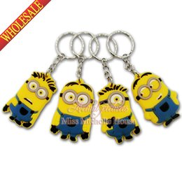 Wholesale Stainless Steel Round Carabiner - Hot Sale 1PCS Minions Despicable Me PVC Cartoon Keychain Charms,Creative Lovely Keyrings Chains,Kawaii Cartoon Key Chains,Party Gift Favors