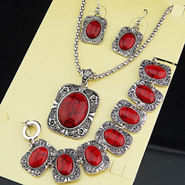 Big Promotions Antique Silver 3pcs Square Rectangle Red Turquoise Natural Necklace Earrings Bracelet Vintage Jewelry Set A1004