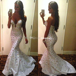Sweetheart Rhinestone Prom Dresses 2017 Mermaid Party Gowns with Crystal Beaded Sweep Train arabic dubai Formal Evening Dresses Party Dress