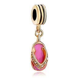 enamel Gold Plating crystal slipper Dangle charm metal slide Spacer bead European fit Pandora Chamilia Biagi charm bracelet