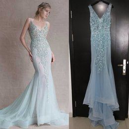 Wholesale 2016 Paolo Sebastian Evening Dresses Deep V Neckline Light Blue Sequins Beaded Court Train Sheer Real Images Prom Dresses