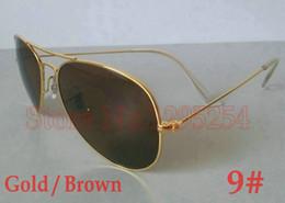 1pcs Designer Classic Pilot Sunglasses Men Women Sun Glasses Eyewear Golden frame brown lense 58mm Glass Lenses With Box Exceptional Quality