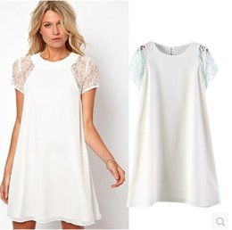 New European Style Women Cute Lace Stitching Chiffon Dress Short-Sleeve Casual Summer White Dress A0345