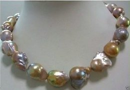 Wholesale huge Color AAA mm south sea baroque pearl necklace INCH