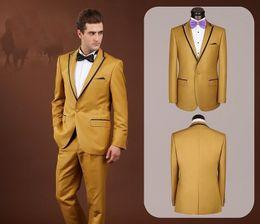 Wholesale-Custom Made Center Vent Groom Tuxedos Gold Best Man Suit Peak Lapel Wedding Groomsman Men's Suits Bridegroom (Jacket+Pants