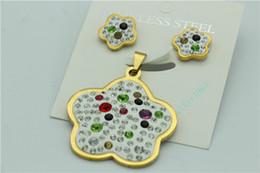 Flower pendant earrings set stainless steel ladies jewelry inlaid crystal