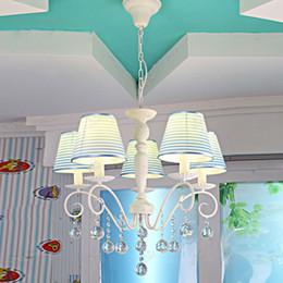 Pastoral Fabric Crystal Children's Room Chandelier Lamps Cartoon Princess Room Pendant Lamp Girl's Bedroom Pendant Light
