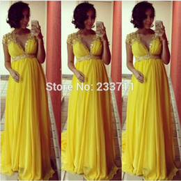Maternity Prom Dresses Empire Formal Evening Gowns With Gold Applique Beading Charming V Neck Zip Back Cap Sleeves Chiffon Party Gowns