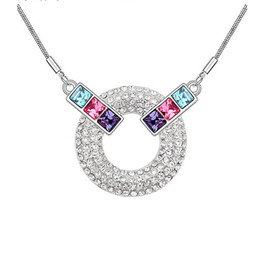 High Grade Jewelry Wholesale Korean Fashion Pendant Necklace Geometric Crystal Necklace Circle Pendant Jewelry For Women NL-00271