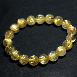 Wholesale Natural Genuine Yellow Titanium Gold Hair Needle Rutile Quartz Rutilated Finished Stretch Bracelet Round Jewelry beads 04198