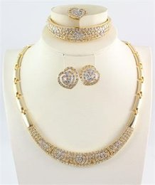 Jewelry Sets African Necklace Bangle Ring Earring Fashion High Quality 18K Gold Plated New Women Rhinestone Jewelry