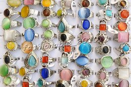 Rings Natural Cat Eye Gemstone stone Silver Plated Rings 17-19mm [R0281*20]