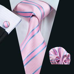 Lazo formal de color rosa en Línea-Lazo de la raya Conjunto Hombres azul rosado del pañuelo de las mancuernas jacquard tejida corbata de seda para hombre Conjunto Conjunto del asunto del trabajo formal N-0433