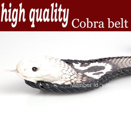 High quality Genuine cobra skin belts with head,Black and white coffee,Snake Leather belt free shipping