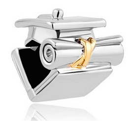 Fashion women jewelry European graduation bachelor cap metal spacer bead lucky charms fits Pandora charm bracelet