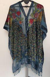 Free Shipping- Peacock beaded Velvet coat-DARK TEAL