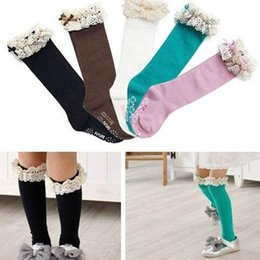 Baby Girls Lace Boots Socks,Toddler To Young Girls lace trim knee hight boot socks baby girls ruffle socks