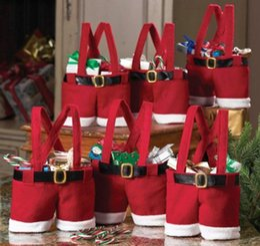Wholesale Christmas New Santa Pants Design Treat Candy Bags Wedding Xmas New Year Gift Bags Chirstmas Decorations Santa Bag Ornaments cm