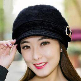 Wholesale Kimisohand Hot Womens Winter Warm Hat Bowknot Cap Knitting Beanie Cap Warm Winter Beret Hat Black Keep Warm Ear Protection