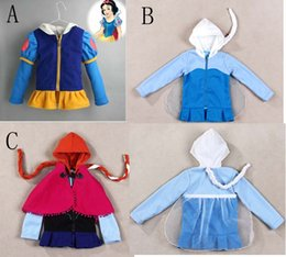 Autumn and Winter Princess Elsa&Anna snow white princess long Sleeve hoodies Baby Girls wig jacket fleece snow coat outwear c001