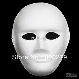 Plain White DIY Masks Men Full Face Unpainted Environmental Pulp Blank Mask to Fine Art Painting Programs Net 40g 10pcs lot
