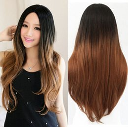 free shipping****Long Big Wavy Black To Grey Ombre wig Heat Resistant Fiber Synthetic Cosplay Wig