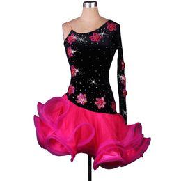 Latin Dance Dress Women Girls Latin Salsa Dance Competition Dresses Samba Costumes D0016 with Bra Cup Appliques Rhinestones Fluffy Hem
