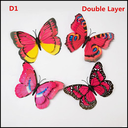 Single Double Layer Room Butterfly Decoration colorful 3D wedding Butterflies Wall sticker PVC Wall stickers kids gifts J090206#