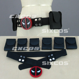 Wholesale 2016 x men cos one set Deadpool Belt Buckle with belt and pouches Wade Wilson Waist Strap Automatic Buckle Black Red for Halloween C415