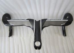 Wholesale Discount high quality light weight ness Full carbon handlebar black white road integrat handlebar k with stem caliber mm