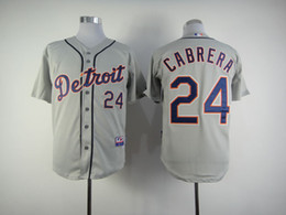 Wholesale Baseball Jerseys Detroit Tigers Miguel Cabrera Grey Road Jersey Authentic Cheap Baseball Cool base Jerseys