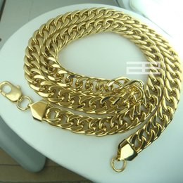 Wholesale 14k gold GF curb rings Link Figaro men cm solid necklace chain jewellery N211