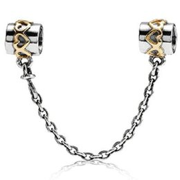 Wholesale Golden Hearts Safety Chain Sterling Silver Bead Fit European Charm Snake Chain Bracelet Female Jewelry