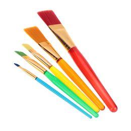Wholesale 5pcs set Flat Nylon Hair Paint Brush Set Plastic Handle Artists Gouache Watercolor Acrylic Brushes Painting Art Supplies H15452