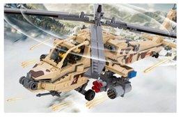 Wholesale KAZI Military Armed Helicopter Building Blocks Sets AH Apache gunships D Model Kids Educational Toys bricks toysd