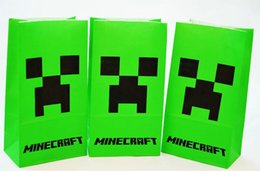 Wholesale Minecraft Popcorn Paper Pack bags green Environmental protection Cinema Candy Cookie Container Party Favors Package inchX9 inch