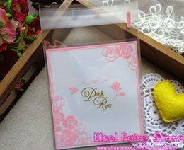 10x11+4cm Pink Rose design Gift Food Packing bag Cellophane Bag, Cute Small Biscuit bag Plastic Bag (300pcs)