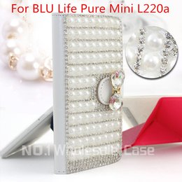 Wholesale top fashio D Luxury Bling For BLU Life Pure Mini L220a Flip Bling leahter skin bag mobile phone case cover Diamond crystal holder wallet